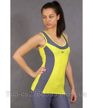 Майка женская спортивная серо-желтая Stamina топ