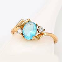 Кольцо  с голубым цирконием 18р. xuping  242
