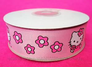 """Стрічка репс 2.5 см """"Hello Kitty"""", 23 м, Рожева"""