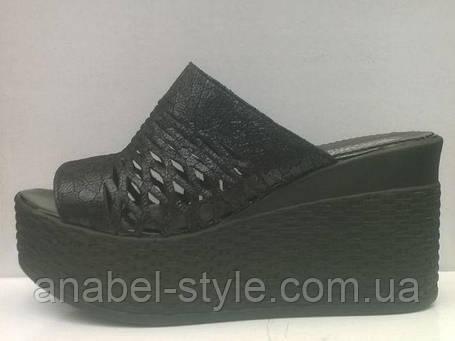 Шльопанці на товстій високій платформі натуральна шкіра чорні, фото 2