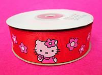 """Лента репс 2,5 см """"Hello kitty"""" (23м) Красная"""