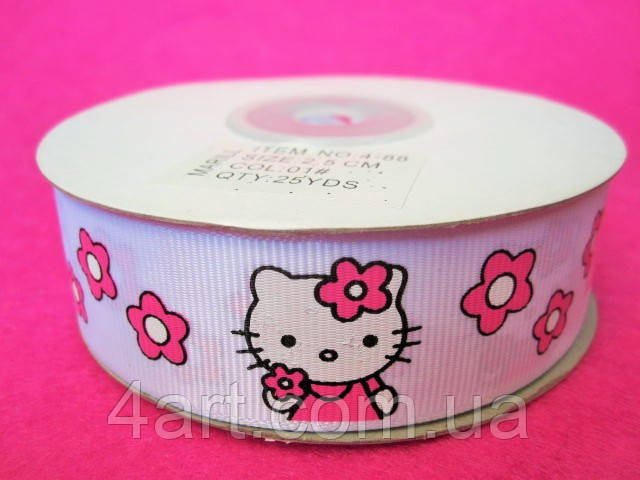 "Лента репс 2.5 см ""Hello Kitty"", 23 м, Белая"