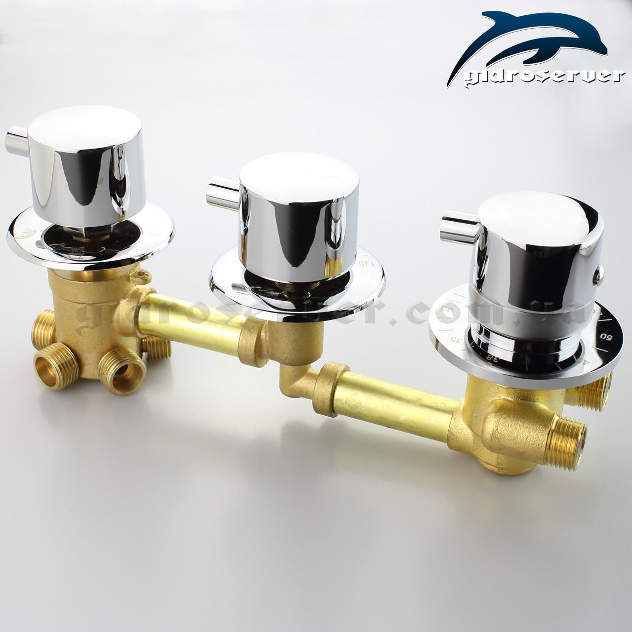 Смеситель с термостатом для душевой кабины, гидробокса, гидромассажной ванны GT-6 на 5 положений.