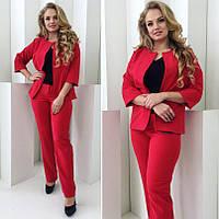 Костюм классический женский жакет и брюки xl+ электрик, 52