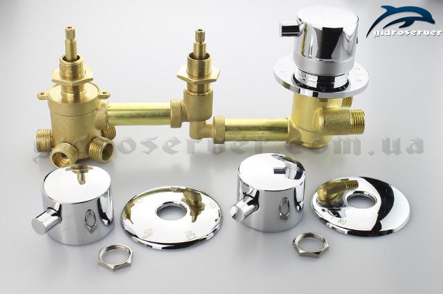 Вбудовуваний змішувач c термостатом для душової кабіни, гідробоксу, ванни з гідромасажем GT-06 на 5 положень, латунний з сполуками під різьблення 1/2 дюйма.