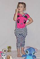 """Летний костюм """"Панда """" малинка. Комплект капри и футболка."""