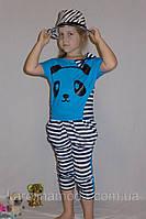 "Летний костюм ""Панда "" голубой. Детский комплект капри и футболка."