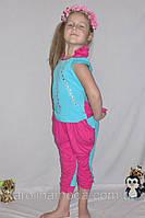"""Летний костюм """"Розочка """" . Детская одежда оптом. Комплект капри и футболка."""