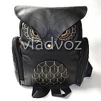 Молодежный модный рюкзак подросток девочка сова чёрный