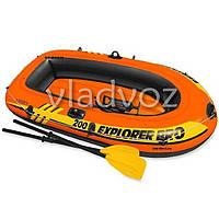 Лодка пвх надувная с веслами и насосом двухместная Intex 58357