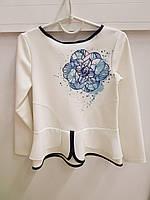 Детская школьная блузка для девочки белая с шифоновым бантом 122, 140, 146