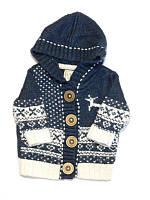 Кофта вязанная синяя с капюшоном
