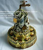 Денежный торт 2-х ярусный из конфет(диаметр 30 см)