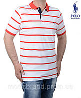 Футболка мужская Ralph Laurenb120 белая с красной полоской