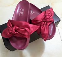Женские тапочки с бантом Puma x Rihanna Fenty Slides 'Bow' Bordo