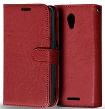 Кожаный чехол-книжка  для Lenovo A5000 коричневый