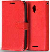 Кожаный чехол-книжка  для Lenovo A5000 красный