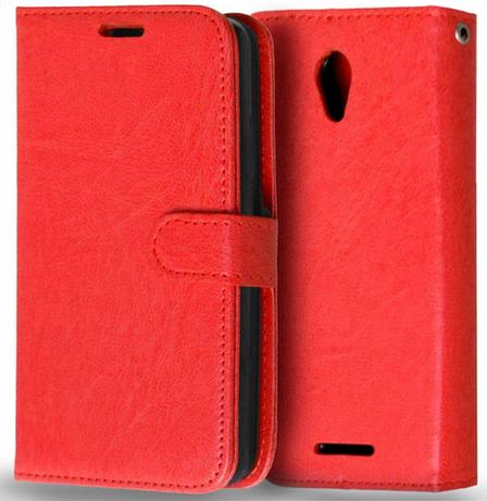 Кожаный чехол-книжка  для Lenovo A5000 красный, фото 2