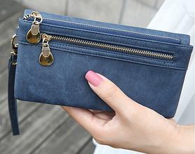 Роскошный женский  кошелек  клатч портмоне синий