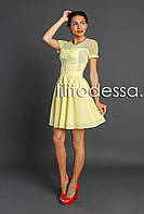 Платье с прозрачной спинкой желтый