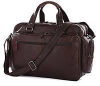 JASPER & MAINE наплечная мужская сумка в коричневом цвете из натуральной кожи J&M (7150Q)