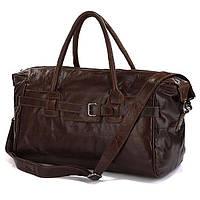 Большая Дорожная сумка из натуральной  кожи J&M в коричневом цвете (7079Q)
