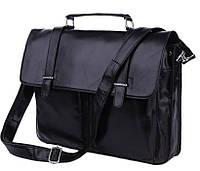 Мужская Сумка- портфель из натуральной кожи в классическом черном цвете с наплечным ремнем TIDING BAG (7013A)