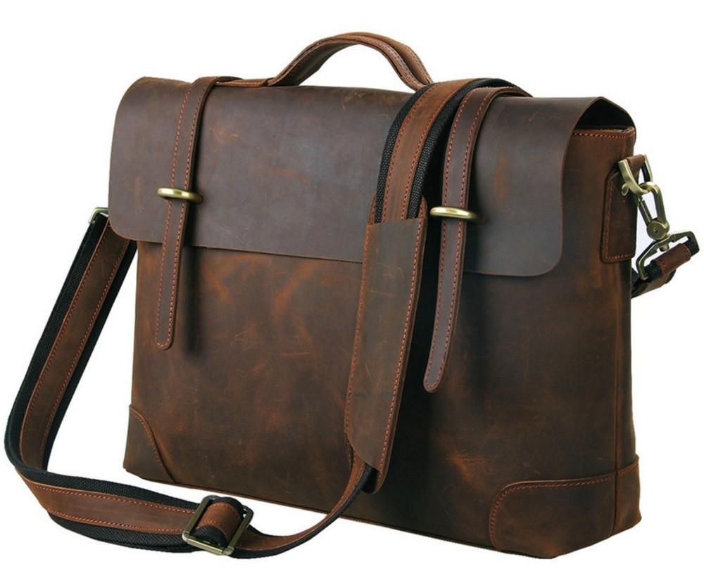20b63f852ceb Горизонтальный Мужской кожаный портфель из натуральной кожи в винтажном  коричневом цвете 7082R - Интернет-магазин