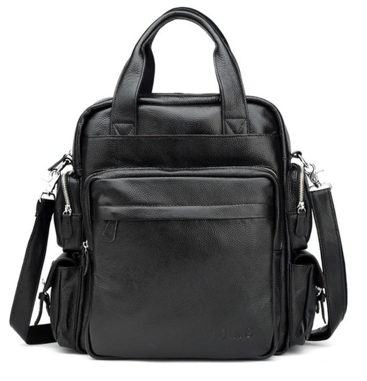 TIDING BAG деловая сумка Рюкзак из натуральной кожи в черном цвете TIDING BAG T3069