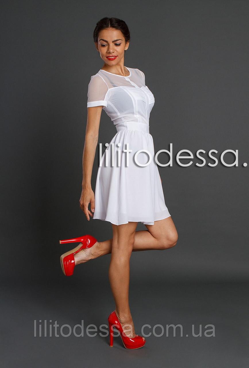 Платье с прозрачной спинкой белый