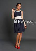 Платье в горох темно-синий, фото 1