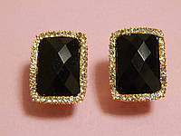 Серьги, крупный черный прямоугольный камень 000295, фото 1