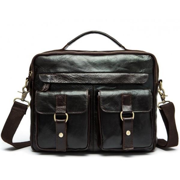Мужская сумка для документов через плечо BEXHILL из натуральной кожи в темно коричневом цвете (BX8001B)