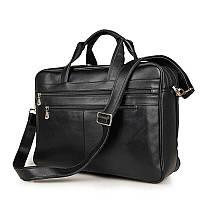 Классическая мужская дорожная сумка Jasper&Maine из натуральной кожи в черном цвете (7319A)
