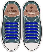 AntiLaces Прямые силиконовые шнурки для кроссовок и кед синие