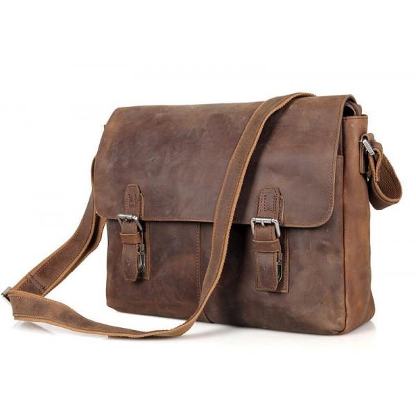 Деловая сумка почтальйонка из натуральной кожи в винтажном стиле Tiding Bag (6002LR-2)