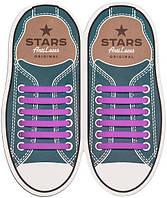 AntiLaces Прямые силиконовые шнурки для кроссовок и кед фиолетовые