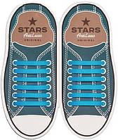 AntiLaces Прямые силиконовые шнурки для кроссовок и кед голубые