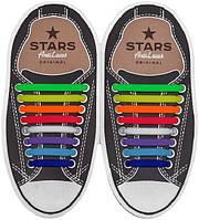 AntiLaces Косые силиконовые шнурки для кроссовок и кед радуга