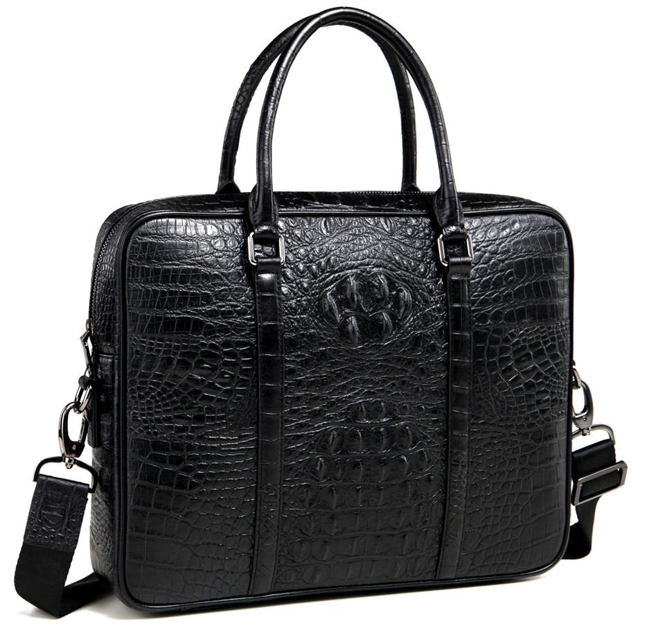 Сумка для документов с тиснением рептилии в черном цвете (вмещает ноутбук) Tiding Bag M9836D