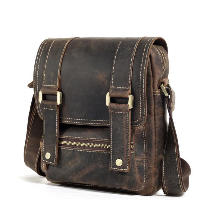 1727d72b8e93 Вертикальный стильный мужской Мессенджер в винтажном цвете из натуральной  кожи TIDING BAG T1172