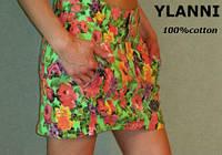 Модная юбка джинсовая в цветок недорого (дешево) Ylanni 8045