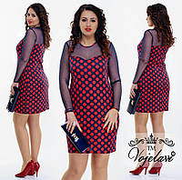Модное платье в горох (батал) цвета в ассортименте.