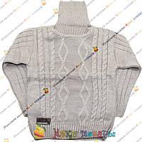 Бежевый вязанный свитер с горлом для мальчика от 5 до 9 лет (3800-2)