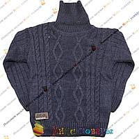 Темно синий вязанный свитер с горлом для мальчика от 5 до 9 лет (3800-3)