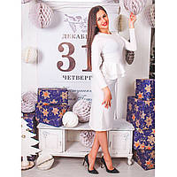 Платье с двойной баской из ангоры Украина 0224 белый