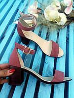 Босоножки элегантные на устойчивом (7 см) каблуке, темная пудра замш