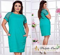 Лёгкое женское платье с карманами, батал