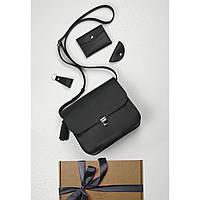 Подарочный набор кожаный женский черный (сумка, кошелек, брелок, открытка) ручная работа