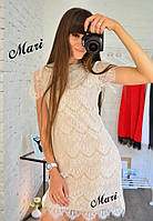 Женское летнее гипюровое мини платье